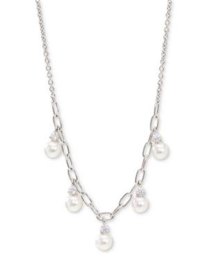 Cubic Zirconia & Imitation Pearl Shaky Statement Necklace