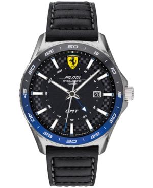 Men's Swiss Pilota Evo Black Leather Strap Watch 44mm