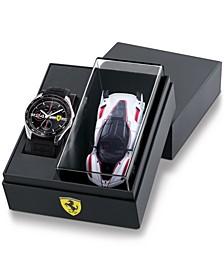 Men's Speedracer Black Silicone Strap Watch 46mm Gift Set
