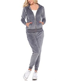 Women's Velour Tracksuit Loungewear 2pc Set