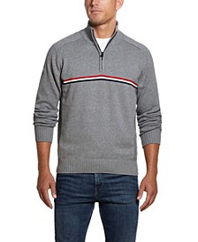 Men's Small Chest Stripe 1/4 Zip Sweater