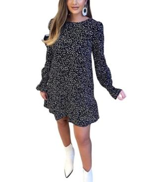 Women's Printed Long Sleeve Shift Dress