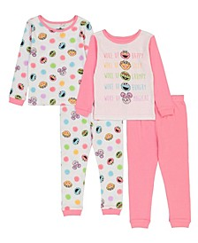 Sesame Street Toddler Girl 4 Piece Pajama Set