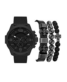 American Exchange Men's Black Faux Leather Strap Watch 50mm Gift Set