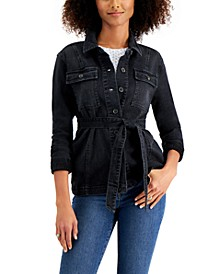 Petite Belted Denim Shirt Jacket, Created for Macy's