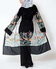 Women's Mesh Midi Embroidered Cardigan