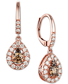 Le Vian Creme Brulee® Chocolate Diamond (1/2 ct. t.w.) & Nude Diamond (5/8 ct. t.w.) Teardrop Drop Earrings in 14k Rose Gold