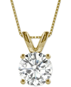 Moissanite Solitaire Pendant (3-1/10 ct. t.w. Diamond Equivalent) in 14k White Gold and 14k Yellow Gold