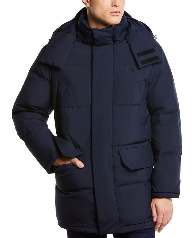Lacoste Men's Regular-Fit Quilted Down Coat with Removable Hood