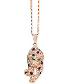 EFFY® Diamond ( 3/4 ct. t.w.) Panther Pendant Necklace in 14k Rose Gold