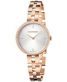 Women's Elegant Rose Gold-Tone PVD Stainless Steel Bracelet Watch 32mm