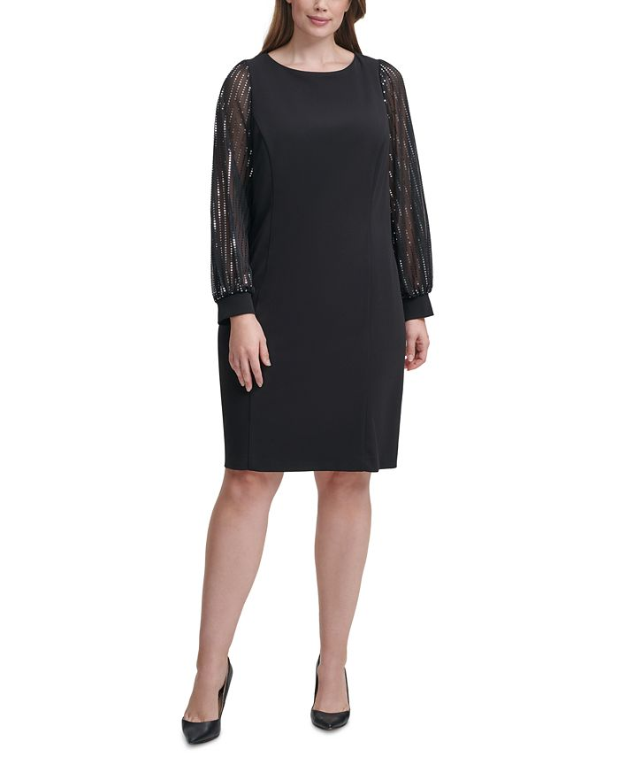 Jessica Howard - Plus Size Chiffon-Sleeve Sheath Dress