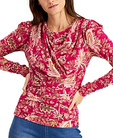 INC Printed Ruched Top, Created for Macy's