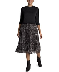 Sweater Dress With Pleated Skirt
