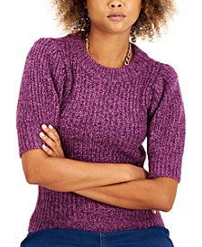 INC Marled Short-Sleeve Sweater, Created for Macy's