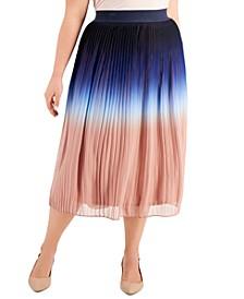 Plus Size Ombré Pleated Midi Skirt, Created for Macy's