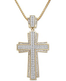 """Men's Cross 22"""" Pendant Necklace (1 ct. t.w.) in 14k Gold-Plated Sterling Silver"""