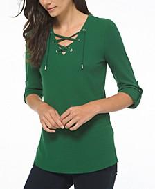 Plus Size Waffle-Knit Lace-Up Tunic