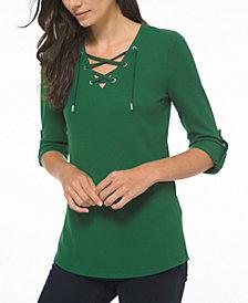Michael Michael Kors Plus Size Waffle-Knit Lace-Up Tunic