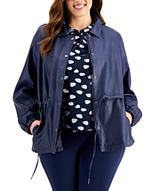 Plus Size Faux-Leather Drawstring Jacket, Created for Macy's