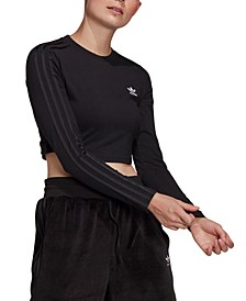 Women's 3-Stripe Cropped Long-Sleeve Shirt