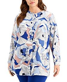Plus Size Printed Collarless Blouse, Created for Macy's