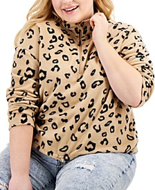 Trendy Plus Size Printed Fleece Top
