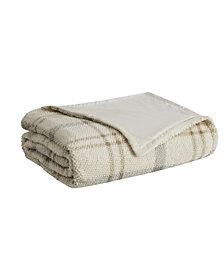 London Fog Popcorn Plaid Plush Blanket, Full/Queen