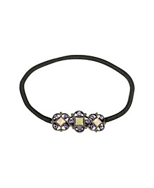 Women's Black-Tone Mother of Pearl Ponytail Holder with Swarovski Crystals
