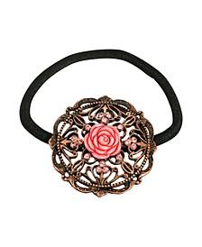 Women's Copper-Tone Carved Rose Ponytail Holder with Rose Swarovski Crystals