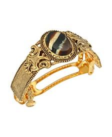 Women's Gold-Tone Oval Stone Ponytail Holder