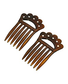 Women's Plastic with Clear Crystal Double Hair Comb