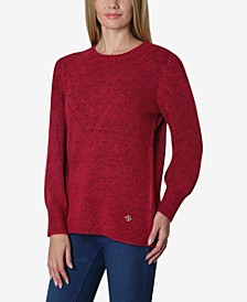 Round Neck Puff Shoulder Marled Pull Over Sweater