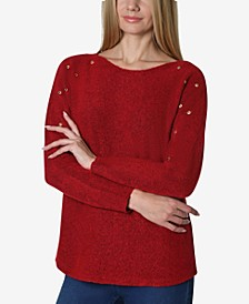 Grommet Trim Dolman Sleeve Sweater