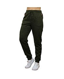 Women's Loose Fit Marled Fleece Joggers with Zipper Side Pockets