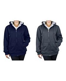 Women's Loose Fit Sherpa Lined Fleece Zip-up Hoodie - 2 Pack