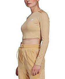 Women's 3-Stripe Cropped Long-Sleeve Shirt