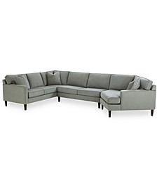 "Brennedy 138"" 3-Pc. Fabric Sectional with Cuddler Chaise, Created for Macy's"