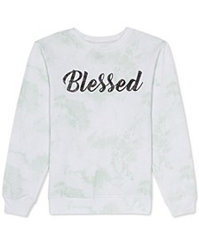 Juniors Graphic Print 'Blessed' Tie Dye Sweatshirt