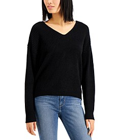 Juniors' Lace-Up Back Sweater