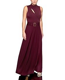 Mock-Neck Belted Maxi Dress