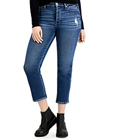 Juniors' High-Rise Straight Fit Cropped Jeans
