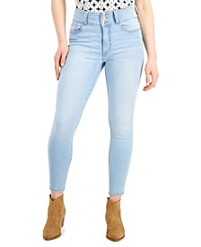 Juniors' High-Waist Curvy 3-Button Skinny Ankle Jeans