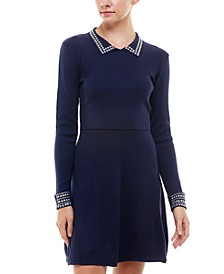 Juniors' Embellished Polo Fit & Flare Dress