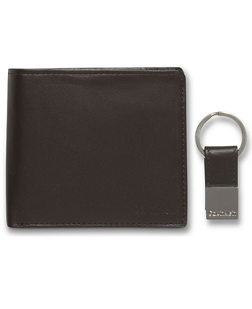 a28f72cb43bb Leather Coin Pocket Bifold Wallet with Key Fob