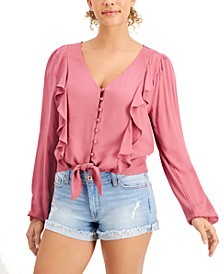 Juniors' Ruffled Tie-Hem Top