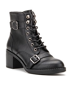Women's Retro Laceup Chunky Heel Booties