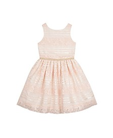 Big Girls Lace and Sequins Stripe Dress