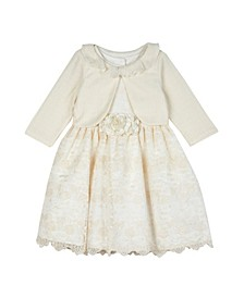 Toddler Girls Embroidered Organza Dress with Knit Shrug