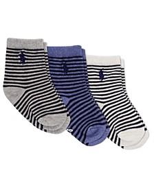Ralph Lauren Layette Boys St. James Stripe Crew Socks 3-Pair